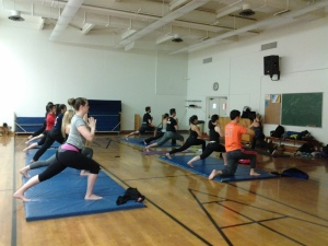 A recent yoga class for CHHS students taught by Brogan.