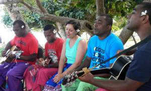 "Singing ""Fiji"" with the band, Drodrolagi kei nautosolo./ Photo Credit: fresnostaterca.com"
