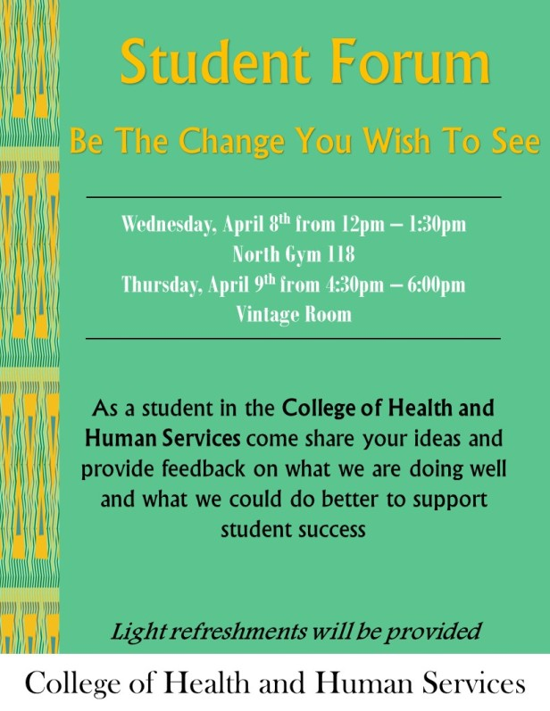 CHHS Student Forums Spring 2015