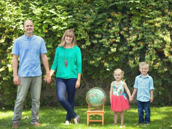 The Kanallakan family from Visalia, pictured here while they were still preparing to adopt Oliver from China: Tim (left) and his wife Amber with their children Jane (3) and Sawyer (6). Photo Credit: Visalia Times-Delta