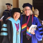 Lowe and Hironaka-Juteau at 2015 commencement.