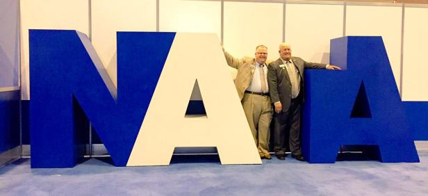 Scott Sailor (L) and outgoing NATA President, Jim Thornton, at NATA Convention. / Photo Credit: NATA