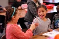 Garfield Elementary first-graders Hailey Baroni (L) and Jazlene Jimenez (R).
