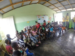 Young Dominican & Haitian students in their classroom.