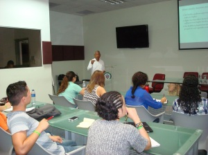 Public health professors provided lectures to the visiting Fresno State students.