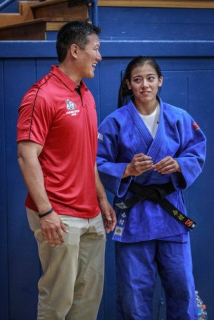 Miranda with her father and coach, Randy Imamura. Photo credit: Fresno State Judo Club